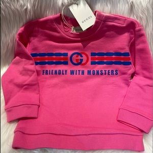 """GUCCI Kid pink """"Friendly with Monsters"""" sweatshirt"""